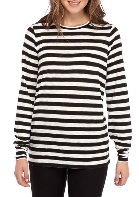 MICHAEL Michael Kors Womens Long Sleeve Stripe T-Shirt