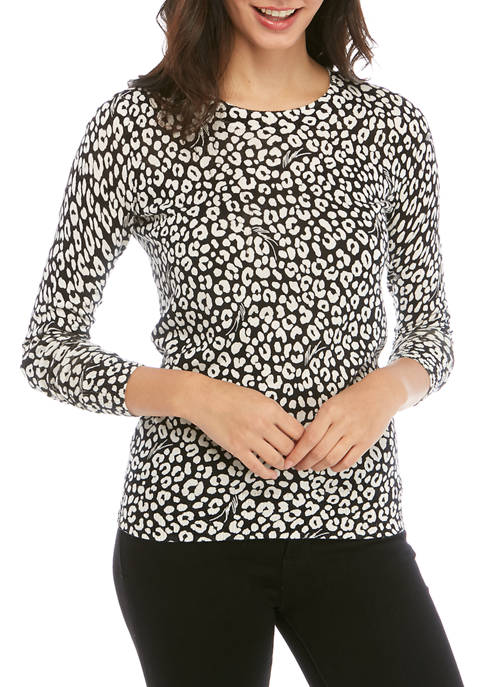 MICHAEL Michael Kors Womens Cheetah Crew Neck Sweater