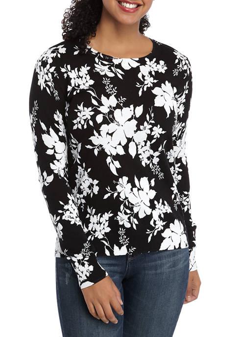MICHAEL Michael Kors Womens Tropical Floral Crew Neck