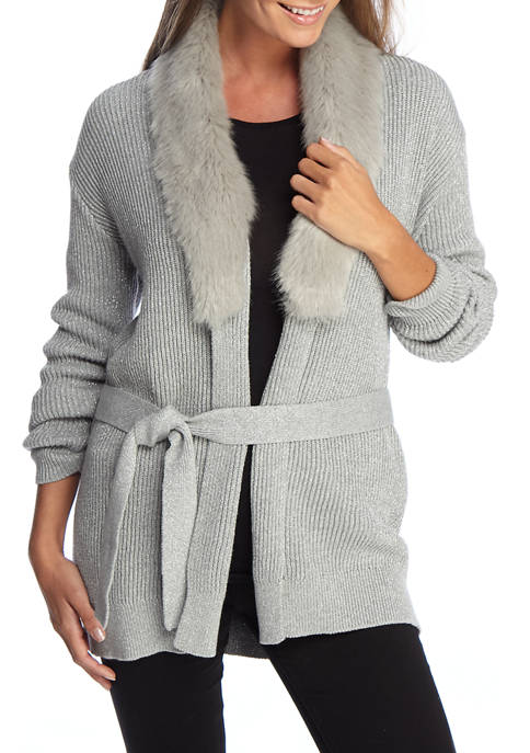 MICHAEL Michael Kors Womens Fur Trimmed Cardigan