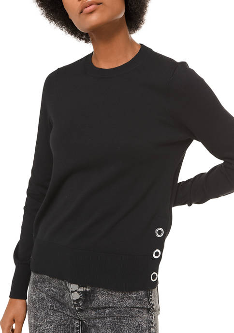 Womens Side Snap Crew Neck Sweater