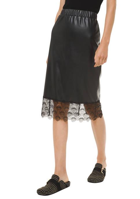 MICHAEL Michael Kors Womens Faux Leather Lace Trim
