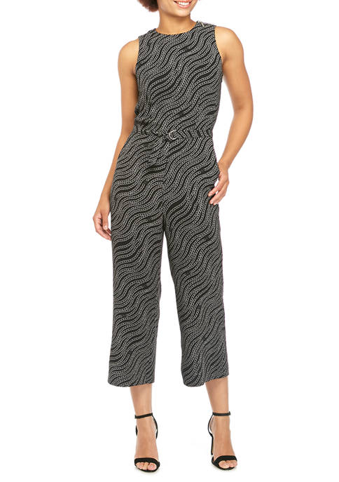 MICHAEL Michael Kors Womens Chain Print Belted Jumpsuit