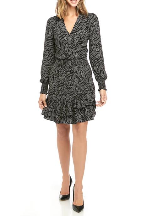 MICHAEL Michael Kors Womens Chain Print Ruffle Wrap