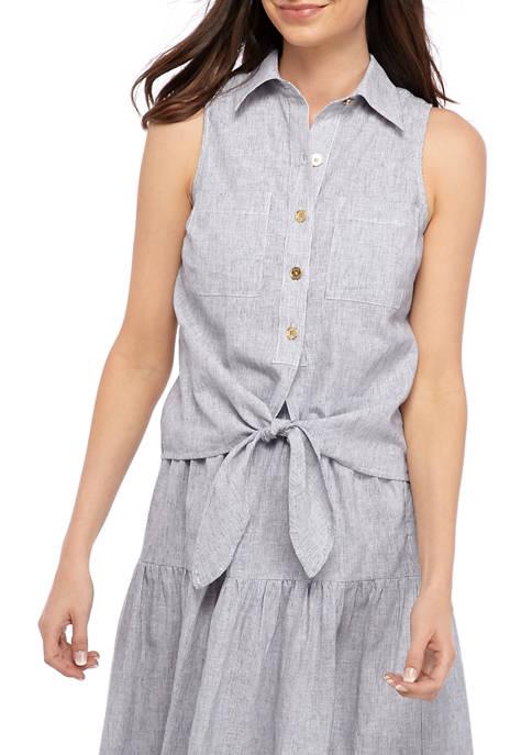 MICHAEL Michael Kors Womens Yarn Dye Stripe Front