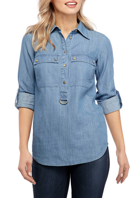 MICHAEL Michael Kors Womens Popover Button Front Shirt