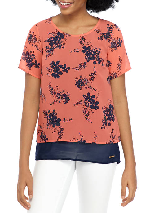 MICHAEL Michael Kors Womens Blooming Split Back Blouse