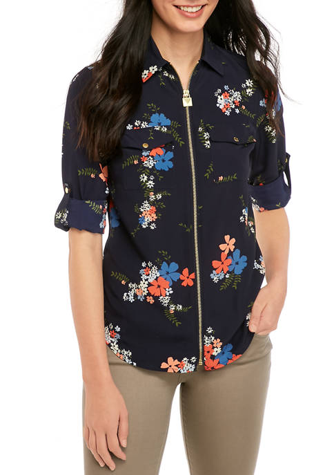 MICHAEL Michael Kors Womens Bouquet Dog Tag Shirt