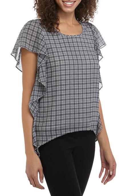 MICHAEL Michael Kors Womens Checkered Side Ruffle Blouse