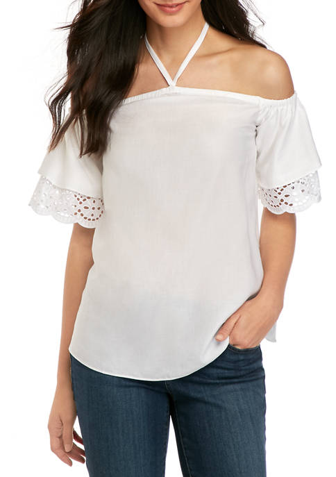 MICHAEL Michael Kors Womens Eyelet Short Sleeve Off