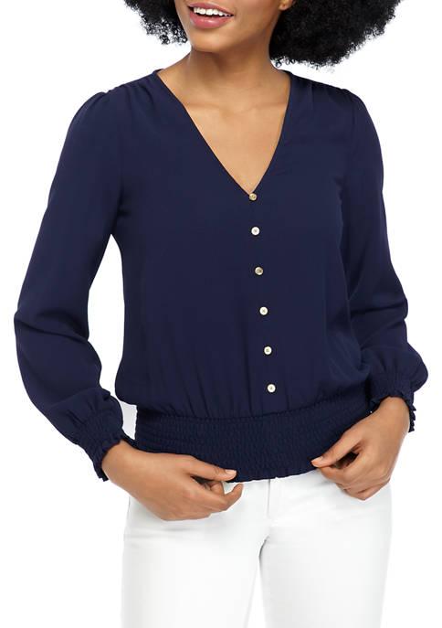 MICHAEL Michael Kors Womens Smocked Waist V-Neck Button