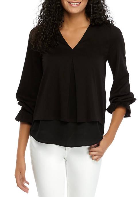 MICHAEL Michael Kors Womens V-Neck Mixed Media Knit