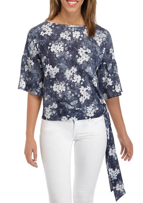 MICHAEL Michael Kors Womens Floral Side Tie Flounce