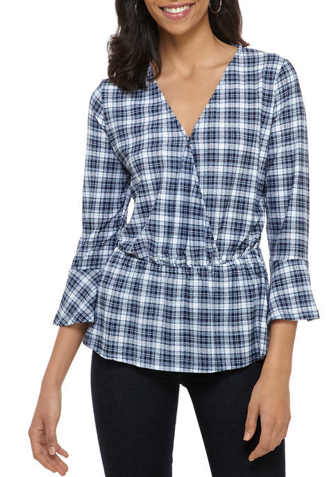 MICHAEL Michael Kors Womens Plaid Textured Peplum Wrap