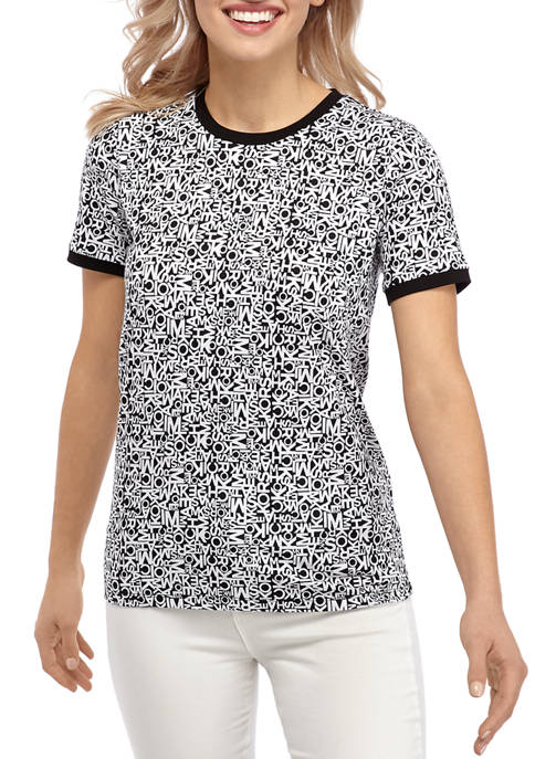 MICHAEL Michael Kors Womens Short Sleeve Block Logo