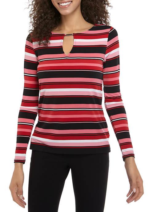 MICHAEL Michael Kors Womens Multi Stripe Keyhole Knit