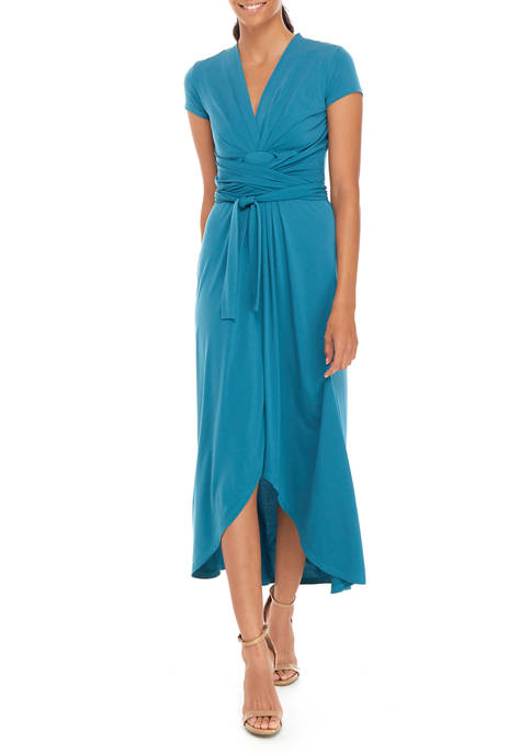 Womens Cap Sleeve Wrap Maxi Dress