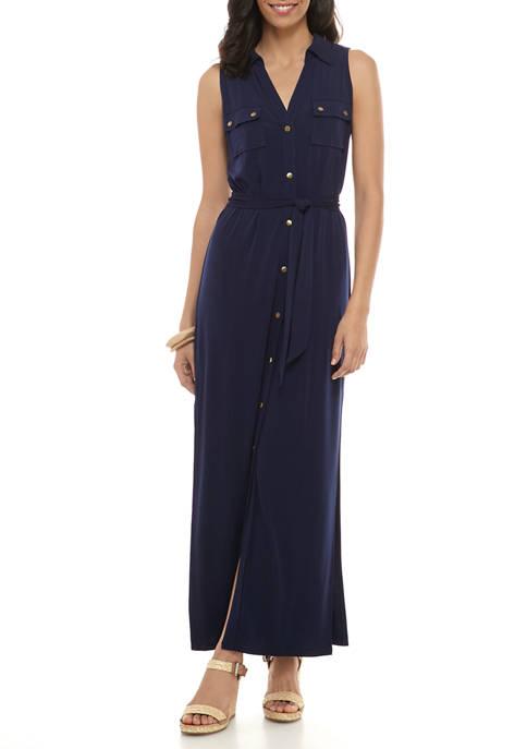 MICHAEL Michael Kors Womens Belted Maxi Shirt Dress