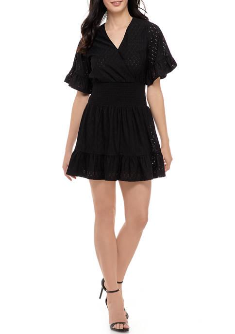 MICHAEL Michael Kors Womens Eyelet Smock Waist Dress