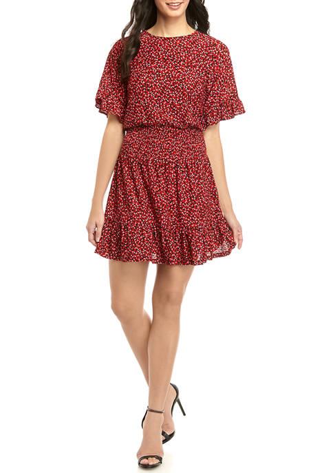 Womens Smocked Waist Petal Print Dress