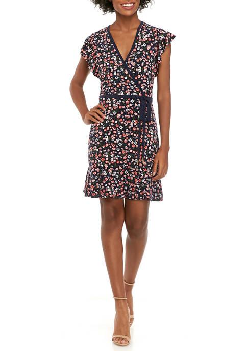MICHAEL Michael Kors Womens Garden Faux Wrap Dress