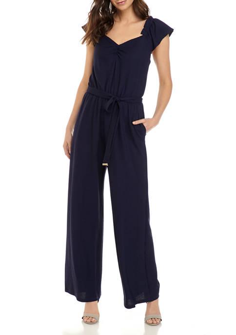 MICHAEL Michael Kors Womens Ruffle Sleeve Tie Jumpsuit