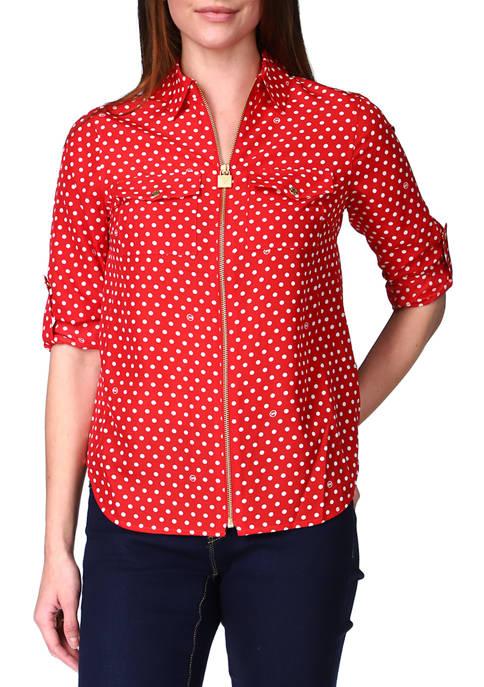 MICHAEL Michael Kors Womens Lock Zip Shirt