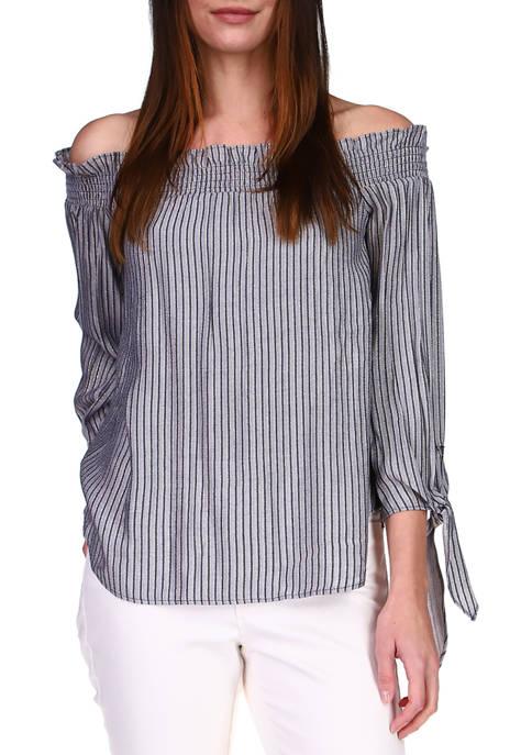 MICHAEL Michael Kors Womens Striped Off the Shoulder