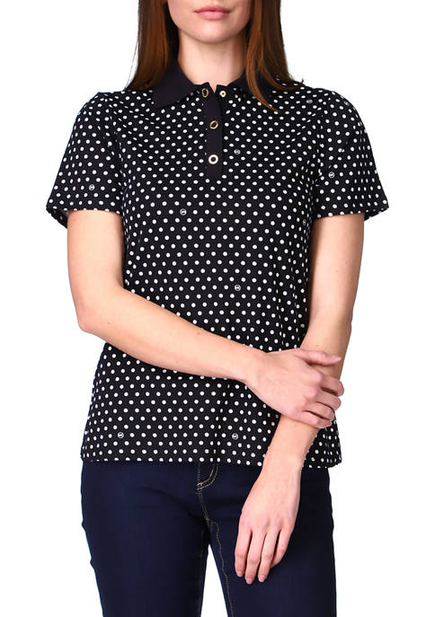 MICHAEL Michael Kors Womens Logo Dot Snap Polo