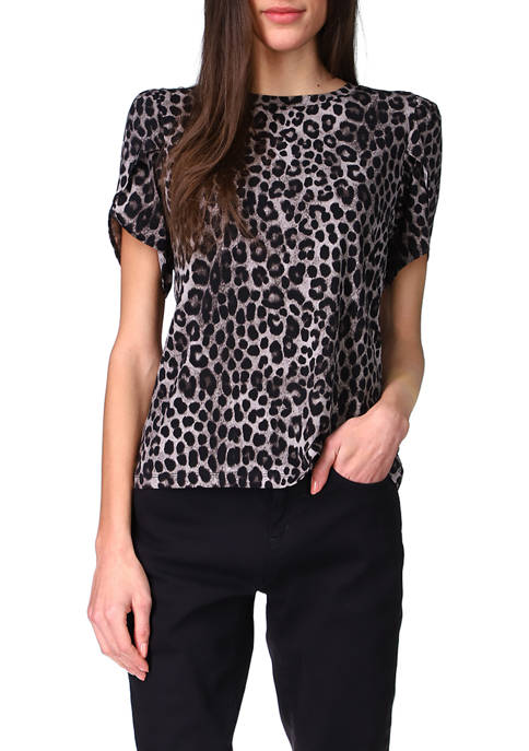 MICHAEL Michael Kors Womens Cheetah Print Petal Sleeve