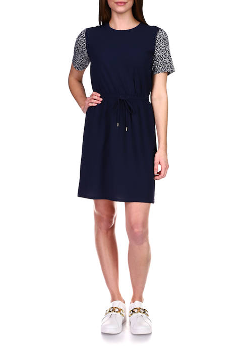MICHAEL Michael Kors Womens Short Sleeve Drawstring Waist