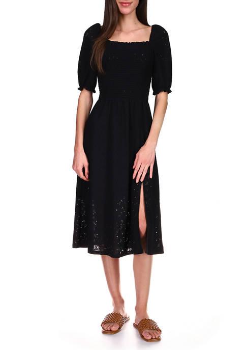 MICHAEL Michael Kors Womens Lace Puff Sleeve Midi