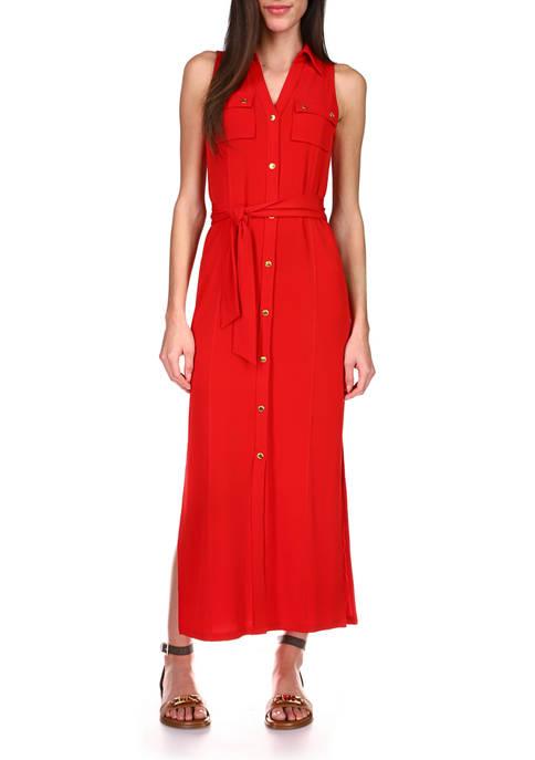 MICHAEL Michael Kors Womens Sleeveless Maxi Shirtdress
