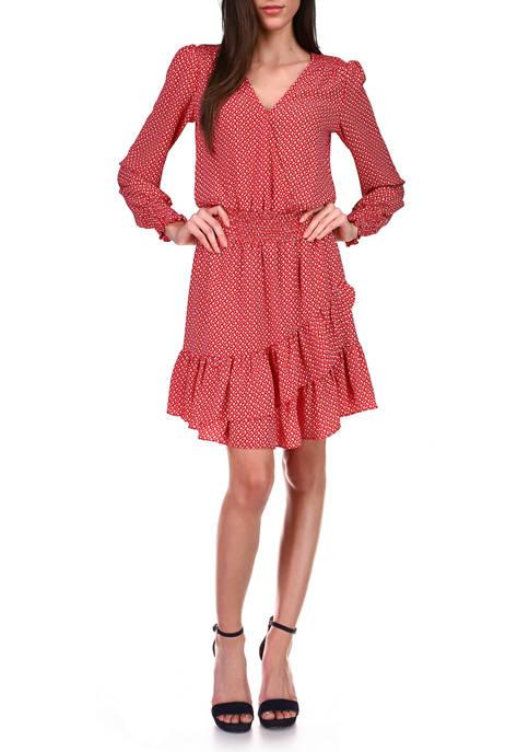 MICHAEL Michael Kors Womens Mini Floral Ruffle Dress