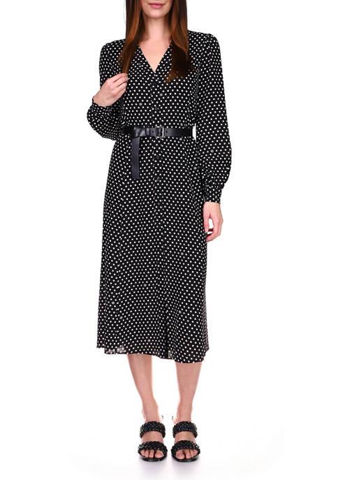 MICHAEL Michael Kors Womens Dot Print Belted Dress