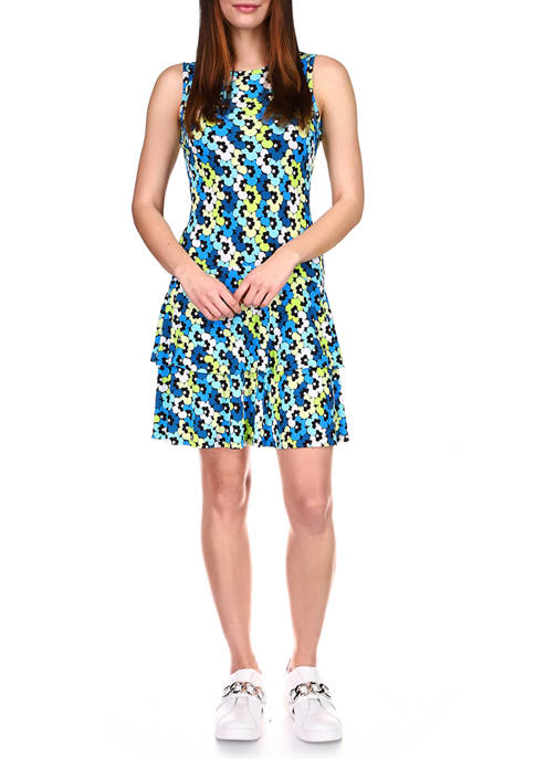 MICHAEL Michael Kors Womens Multi Floral Flounce Dress