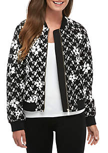 MICHAEL Michael Kors Embroidered Mesh Bomber Jacket