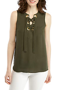 MICHAEL Michael Kors Solid Lace Up Sleeveless Blouse