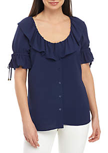 MICHAEL Michael Kors Short Sleeve Ruffle Button Front Blouse