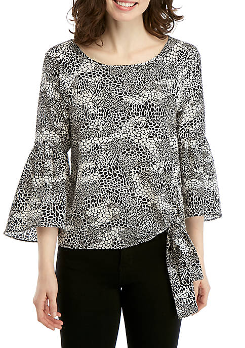 MICHAEL Michael Kors Patchwork Reptile Blouse with Side