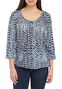 MICHAEL Michael Kors Printed Peasant Knit Top