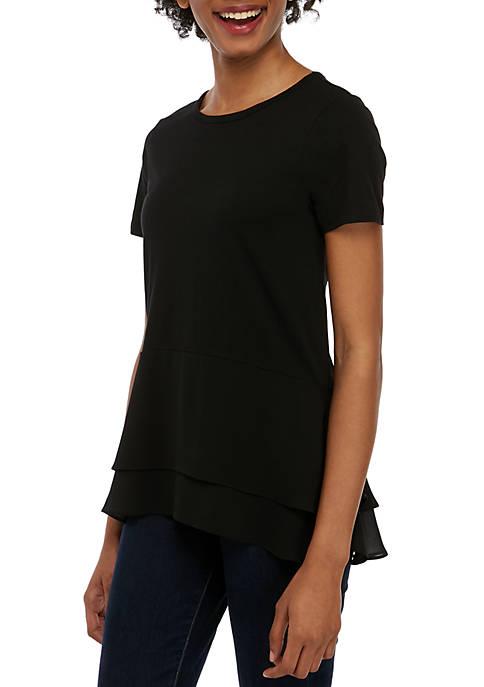 Short Sleeve Tiered Hem T Shirt