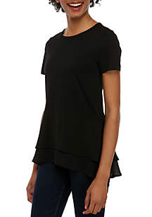MICHAEL Michael Kors Short Sleeve Tiered Hem T Shirt