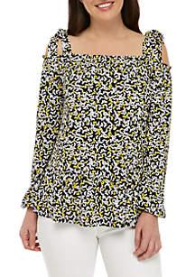 a583a27e514cff ... Blouse · MICHAEL Michael Kors Tie Shoulder Printed Cold Shoulder Top