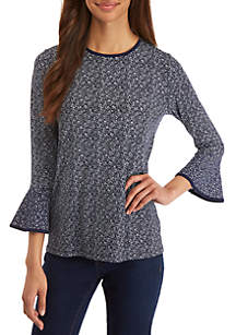 MICHAEL Michael Kors Flare Paisley Sleeve Knit Top