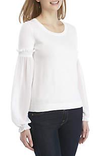 MICHAEL Michael Kors Woven Ruffle Sleeve Sweater