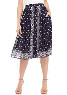 MICHAEL Michael Kors Medallion Scarf Print Midi Skirt