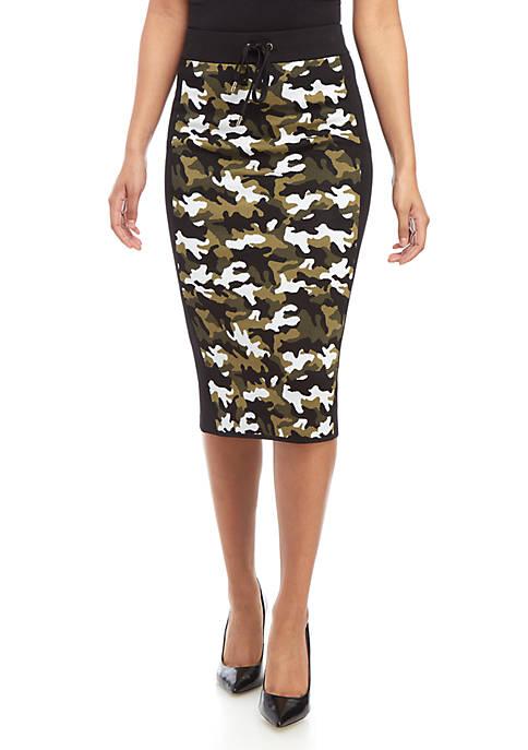 MICHAEL Michael Kors Camo Tie Waist Midi Skirt