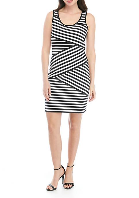 MICHAEL Michael Kors Diagonal Strip Sleeveless Dress