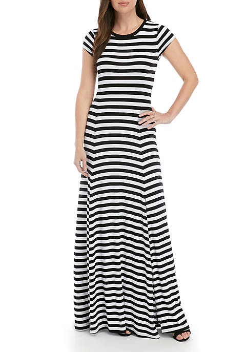 Short Sleeve Stripe Maxi Dress